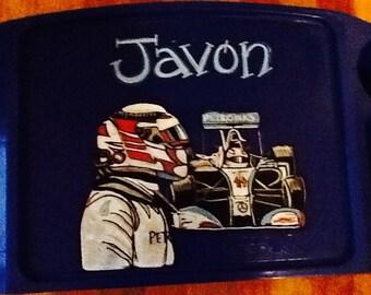 Lewis Hamilton tray, race car tray, lap tray, sport lap tray