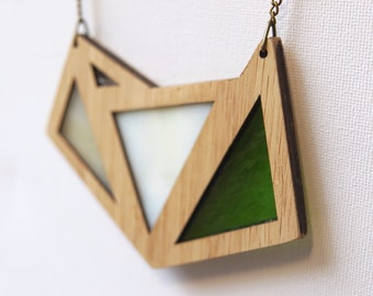 Green and White Mixed Glass Foxface Wooden Pendant on chain.