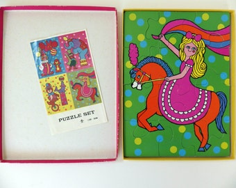 Vintage 70s jigsaw puzzles - in box - 2 psychedelic circus puzzles - Made in Japan