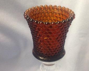 Amber hobnail candleholder votive, amber votive, amber hobnail votive cup, amber sconce candle holder