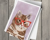 Cute orange tabby cat wearing glasses illustrated watercolor blank note card with envelope