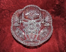 SALE EXQUISITE American Brilliant Large 8 inch Deep Cut Glass Hobstar Fan Diamond Pattern