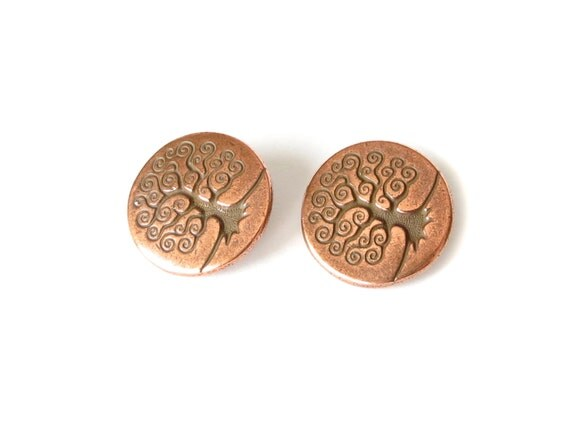 2x tree of life buttons copper finish tierracast shank for Buttons with shanks for jewelry