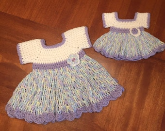 Me & my Doll dresses.  Adorable multi color, white and lilac dresses!!  9-12 months and doll sized
