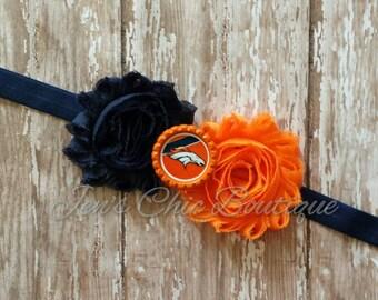 Denver Broncos elastic infant, toddler, or adult headband bow