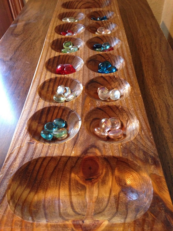 Mancala Wooden Large Game Board Pine Wood African Gem Stone