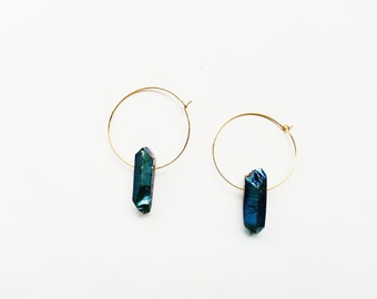 Medium Gold-Plated Brass Hoops with Titanium Blue Quartz Crystal Points