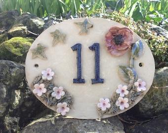 House numbers, door number plaque, handmade door sign.