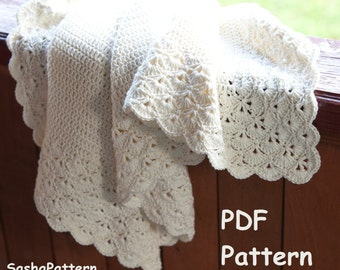 Crochet baby blanket with lacy border pattern – square baby afghan shell stitch pattern