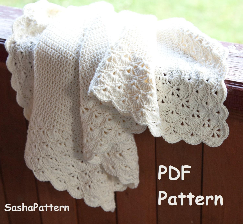 Crochet Baby Blanket Border Pattern : Crochet baby blanket with lacy border pattern square baby