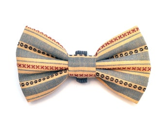 The Degraw Bow Tie - Dog Bowtie, Made in Brooklyn, Bowtied, Fall, Stripe, Striped, Denim