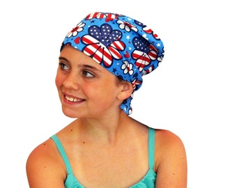 Mia Children's Head Cover, Girl's Cancer Headwear, Chemo Scarf, Alopecia Hat, Head Wrap, Cancer Gift for Hair Loss - Patriotic Flowers