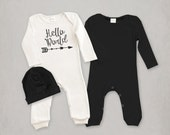 Newborn Boy Take Home Outfit, Hello World Romper with Optional Hat, Baby Boy Clothes, Newborn Boy Coming Home Outfit, Tesa Babe, TesaBabe