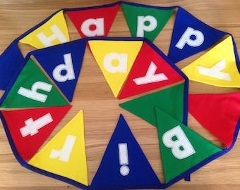 Happy birthday bunting, fabric bunting, birthday bunting, wall decor, kids birthday, birthday flags, party decorations, party bunting