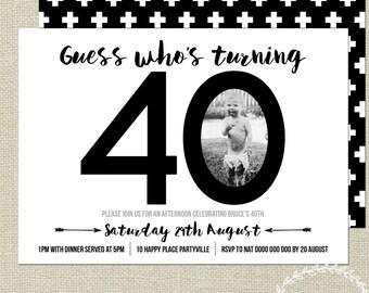 40th Birthday Invitation /  Black and White / Milestone Adult Birthday Invitation Photo Simple 30th 40th 50th 60th 70th Invitation PDF JPEG