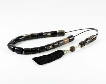 Reindeer Horns, Dark Gray Antlers Greek Worry Beads Komboloi Prayer Beads|15x13mm|20+Imam
