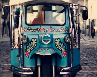 Street photography, Tuk Tuk, urban print, Portugal, street taxi fine art print, blue, whimsical, vintage, home decor, office wall decor