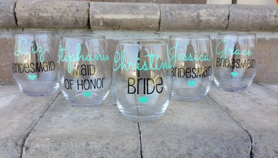 Description Bridesmaid Gift Wine Glasses Bachelorette Party