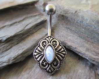 Vintage White Opal Belly Button Navel Ring