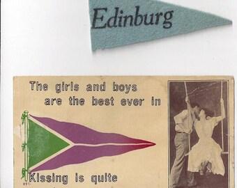 Vintage Edinburg ND Postcard ~ Kissing couple on swing Agnes Haug Genealogy