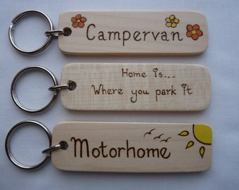 Campervan Keychain,Motorhome Keyring,Personalised Great Outdoors Camping Gift,Travelling Gift,Gifts For Him,Gifts For Her,Fathers Day Gift.
