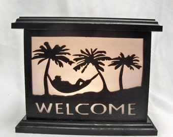 Welcome to Paradise wooden lantern