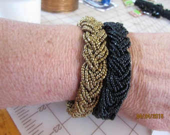 beaded braided seed bead bracelet black or gold