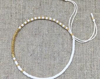 Fine Bead Bracelet, White & Gold Bead Stack Bracelet, Friendship Bracelet, Gift for her, Best friend gift