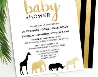 Jungle Animals Baby Shower Invitation **envelopes included**