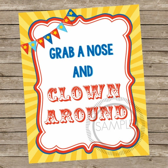 8x10 grab a nose and clown around carnival    circus printable