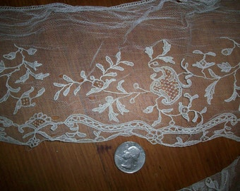 """finely done  1800s heirloom  hand done 5 1/2"""" wide yardage"""