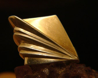 Bold Sterling Silver & 14k Gold Artisan High Profile Ring