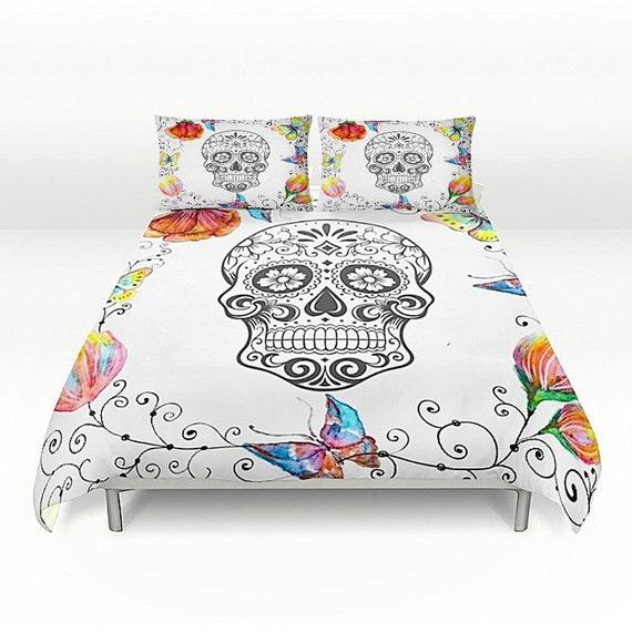 Items similar to skull bedding sugar skull duvet for Tattoo bedding queen