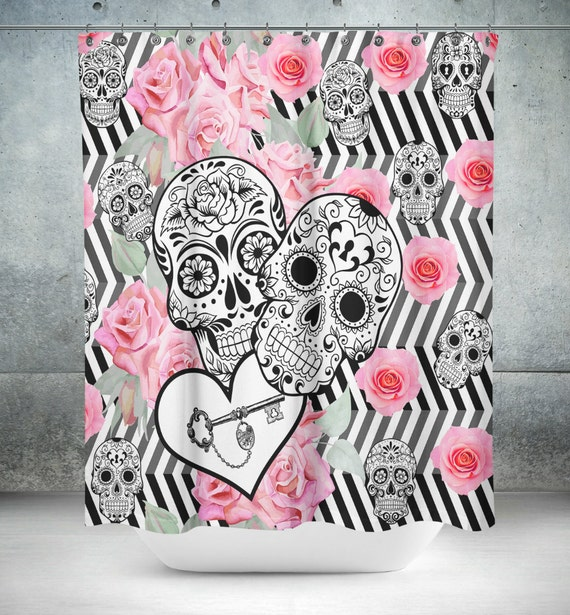 "Sugar Skull Shower Curtain , ""Locked in Love""  Black White Zig Zag  Rose Print"