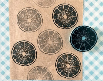 Lemon rubber stamp, hand carved, citric fruit stamp, summer