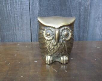 1960's Mid Century Brass Owl
