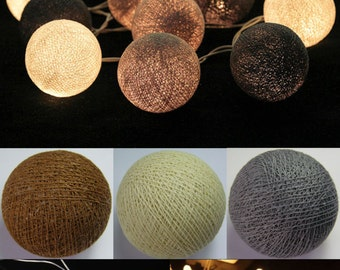 Battery Operated 20 mixed Soft Gray Color Cotton Ball String Light Hot colors