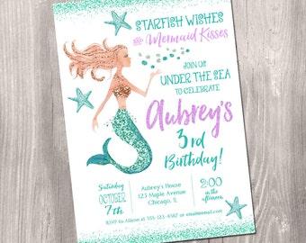 Mermaid Birthday Invitation, Mermaid invitation, under the sea birthday, mermaid party, little mermaid invitation, printable invitation