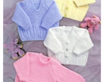 Sweaters and Cardigans Baby Knitting Pattern PDF instant download  Size 16 - 24 inch Double Knitting