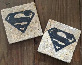Tumbled Stone Superman Coasters