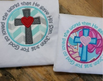 Boys Easter Shirt - John 316 Easter - God Cross Top - Girl Sibling Shirt - Chevron Cross Shirt - Toddler Easter Outfit