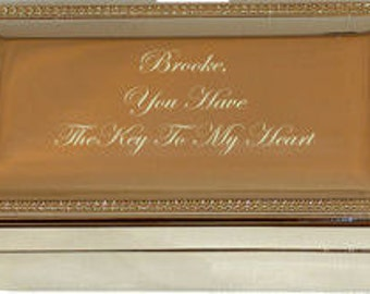 Engraved Silver Plated Keepsake Box Valentines Day Key To My Heart Bridesmaids Gifts Silver Anniversary Jewelry Box