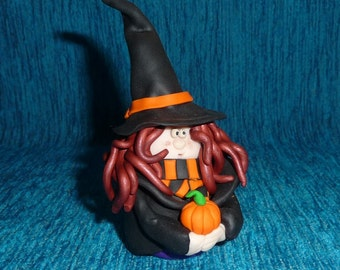 Unique HANDMADE polymer clay Halloween witch with pumpkin