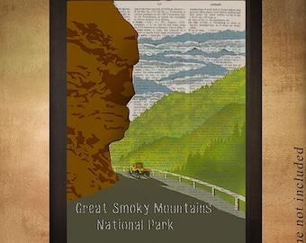 Great Smoky Mountains Art Dictionary Art Print National Park Travel Poster North Carolina Wall Art Decor da1005