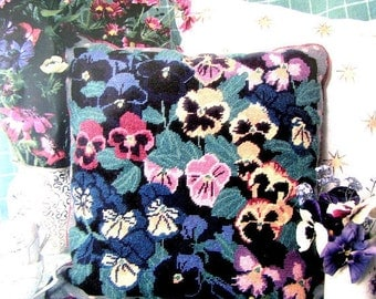 "40%OFF//*Printed Needlepoint Kit ""Jewel Pansies"" by Primaavera. A Vintage Needlepoint Cushion Pink/Yellow/Blue Pansies. /On SPECIAL!!"