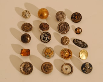 20 Lot of Antique Miniature Brass Flower Picture MOP Rhinestone Victorian Buttons