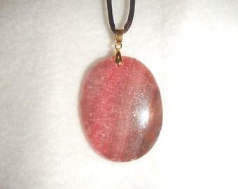Oval Pink Rhodochrosite pendant (JO281)