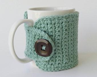 Cotton Coffee Mug Cozy, Coffee Cozy in Sea Breeze, Sea Breeze Cup Cozy, Coffee Sleeve, Coffee Lovers Gift