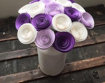 Paper Flowers Stemmed - Purple Roses - Lilac - White - Wedding Flowers - Home Decor - Baby Shower - Table Centerpieces - Bouquet Alternative