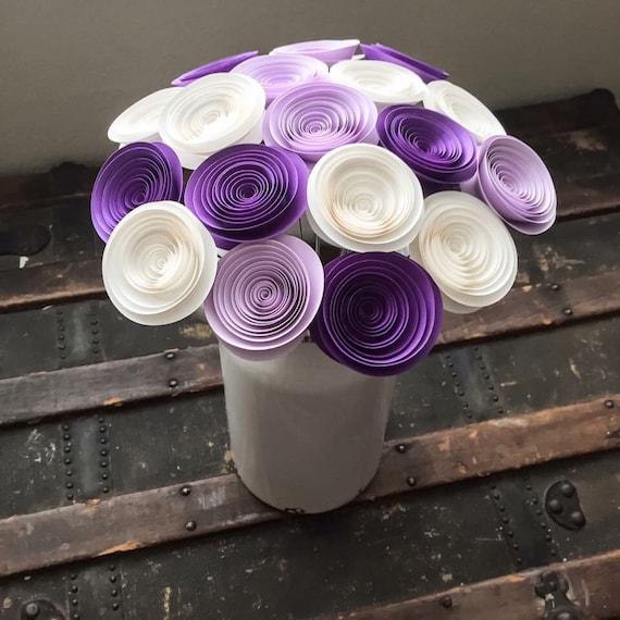Paper flowers stemmed purple roses lilac white wedding il570xn mightylinksfo